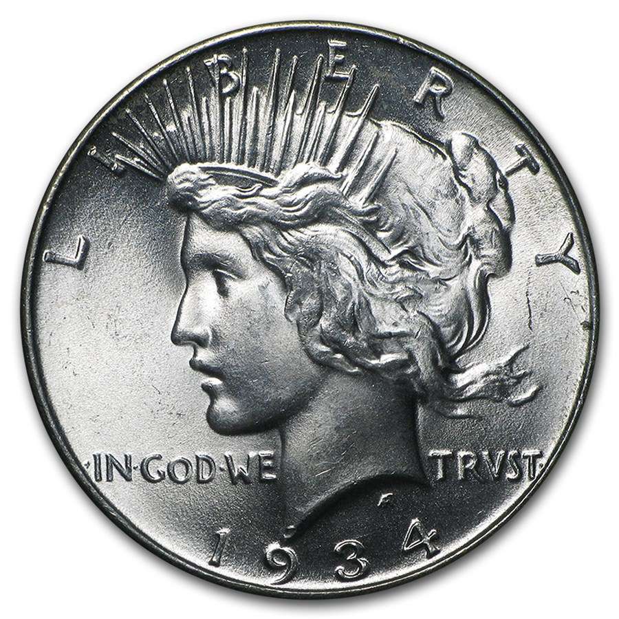 1934 Peace Dollar BU (Hairlines)