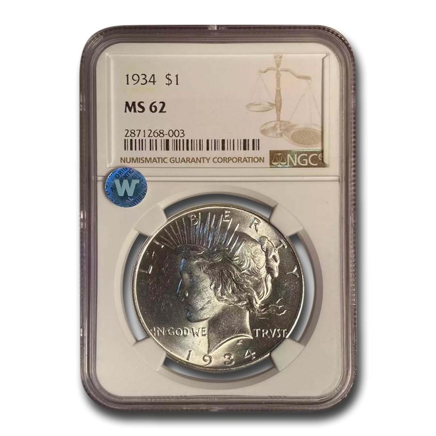 1934 Peace Dollar MS-62 NGC