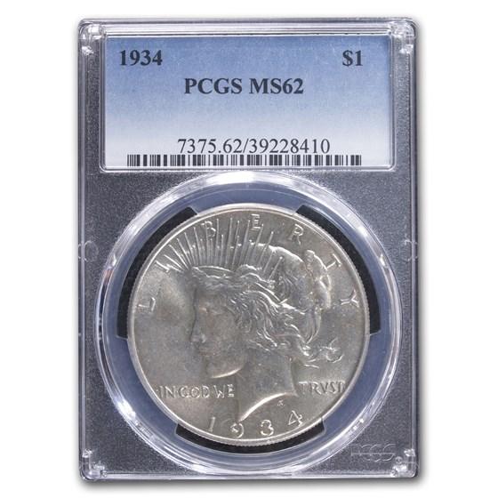 1934 Peace Dollar MS-62 PCGS