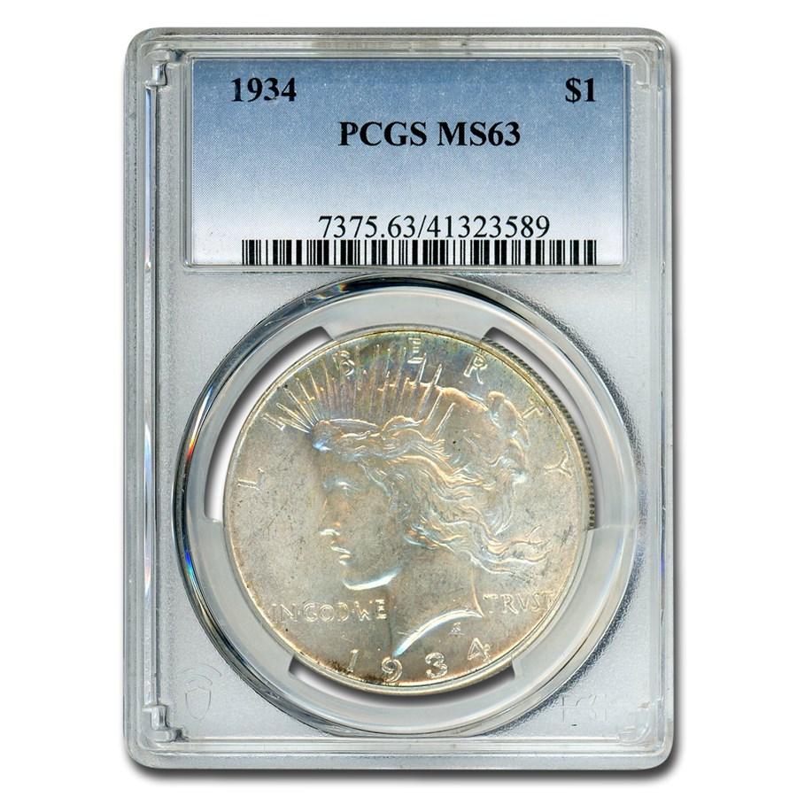 1934 Peace Dollar MS-63 PCGS