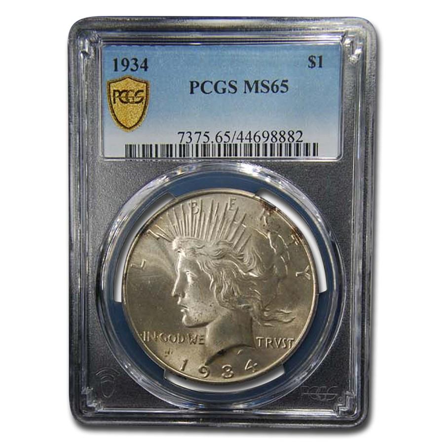1934 Peace Dollar MS-65 PCGS
