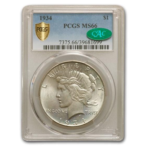 1934 Peace Dollar MS-66 PCGS CAC