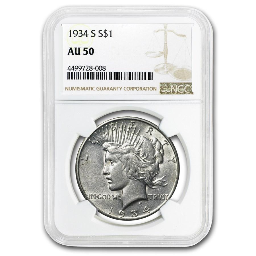 1934-S Peace Dollar AU-50 NGC