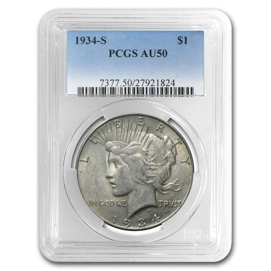 1934-S Peace Dollar AU-50 PCGS