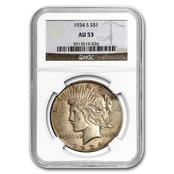 1934-S Peace Dollar AU-53 NGC