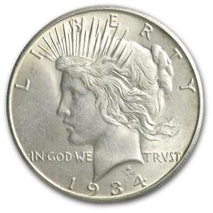 1934-S Peace Dollar BU Details (Light Scratch)