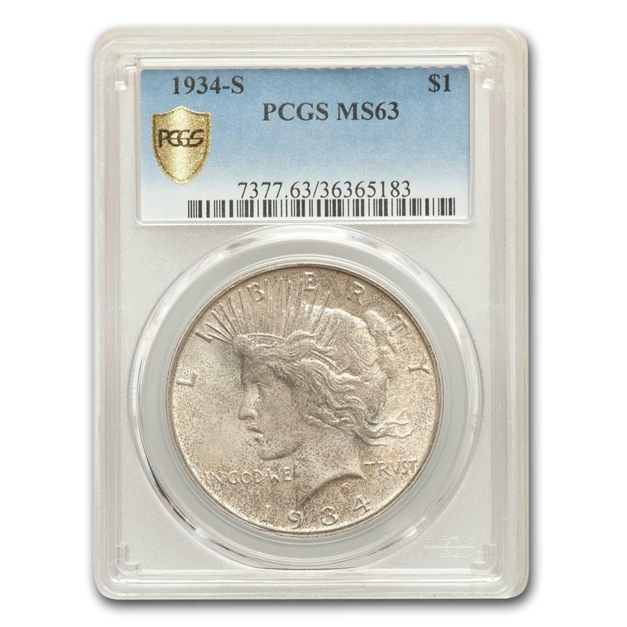 1934-S Peace Dollar MS-63+ PCGS