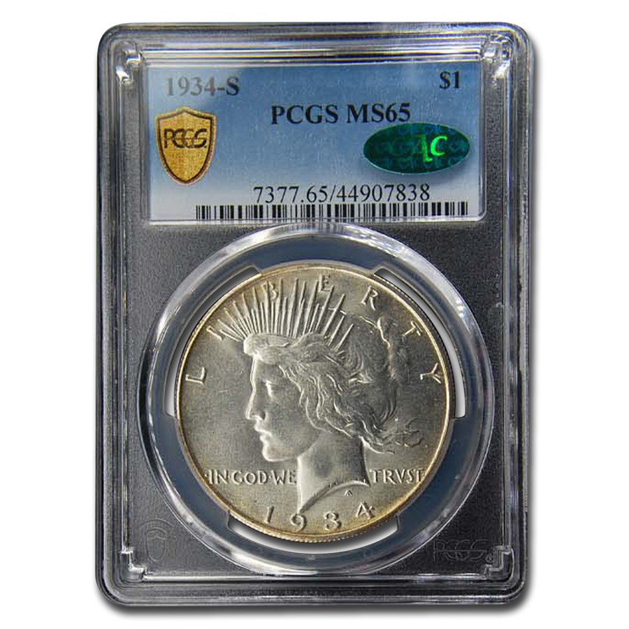 1934-S Peace Dollar MS-65 PCGS CAC