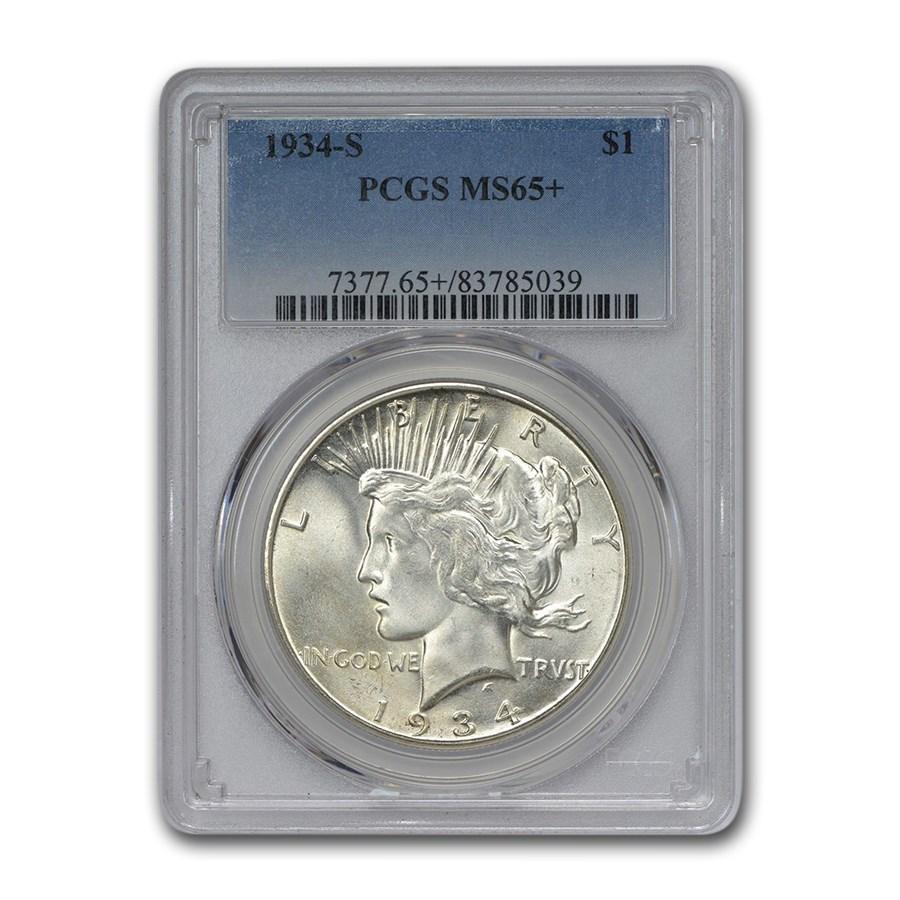 1934-S Peace Dollar MS-65+ PCGS