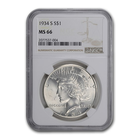 1934-S Peace Dollar MS-66 NGC