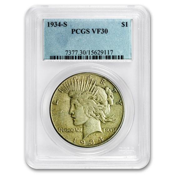 1934-S Peace Dollar VF-30 PCGS