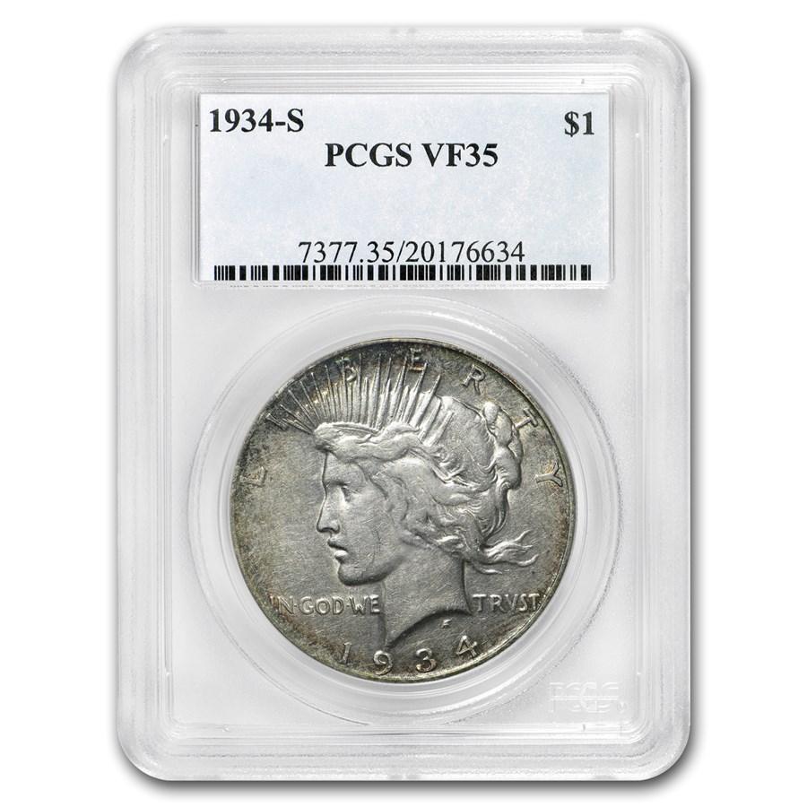 1934-S Peace Dollar VF-35 PCGS