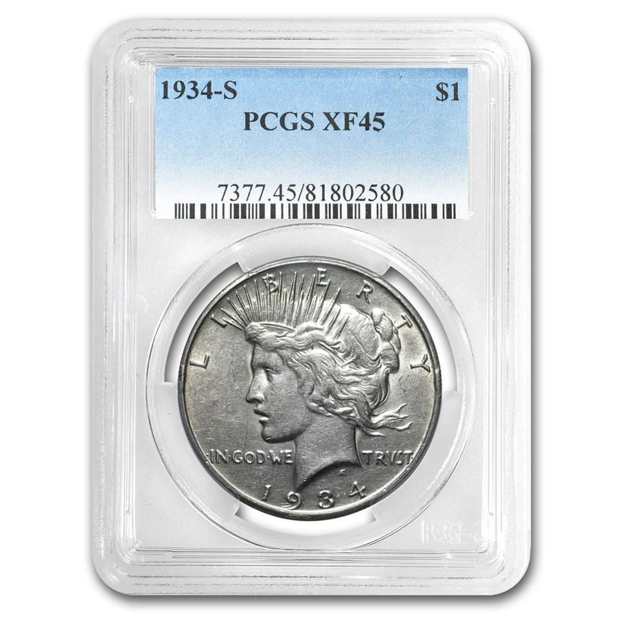 1934-S Peace Dollar XF-45 PCGS