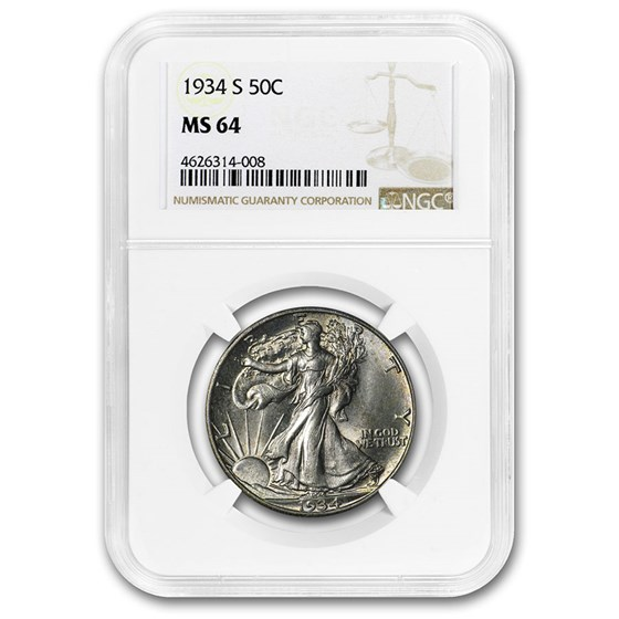 1934-S Walking Liberty Half Dollar MS-64 NGC