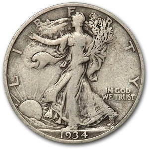 1934-S Walking Liberty Half Dollar VG/VF