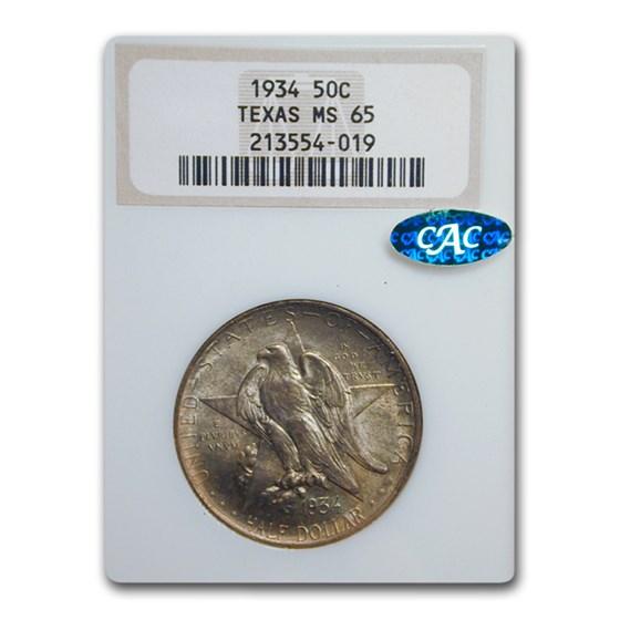 1934 Texas Centennial Commemorative Half Dollar MS-65 NGC CAC