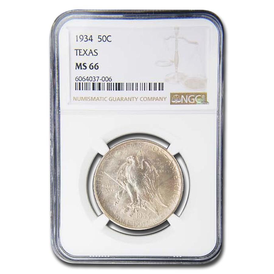 1934 Texas Centennial Commemorative Half Dollar MS-66 NGC