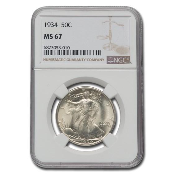 1934 Walking Liberty Half Dollar MS-67 NGC