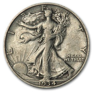 1934 Walking Liberty Half Dollar VG/VF