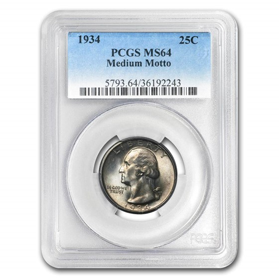 1934 Washington Quarter MS-64 PCGS (Medium Motto)