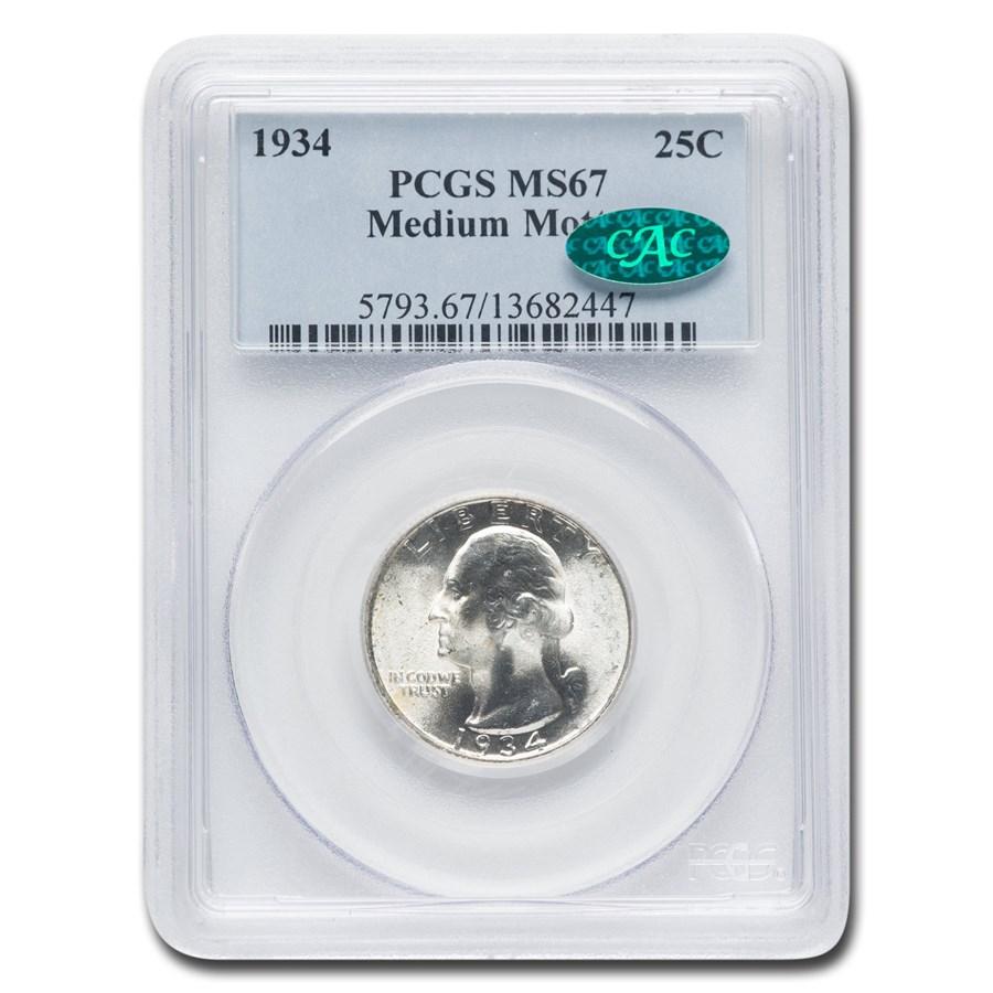 1934 Washington Quarter MS-67 PCGS CAC (Medium Motto)