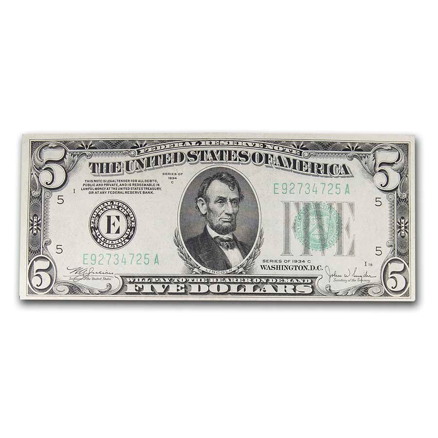 1934s $5.00 FRN XF (District of our Choice)