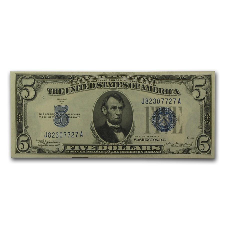 1934's $5.00 Silver Certificates CU