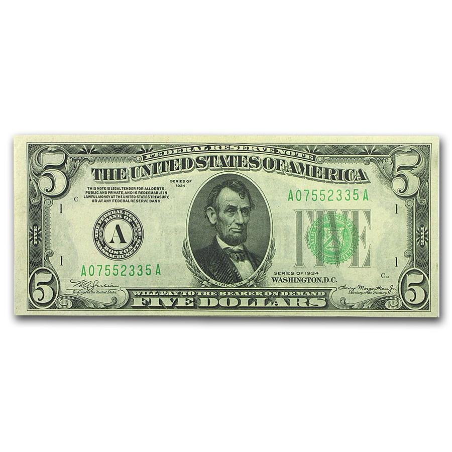 1934's (A-Boston) $5.00 FRN CU