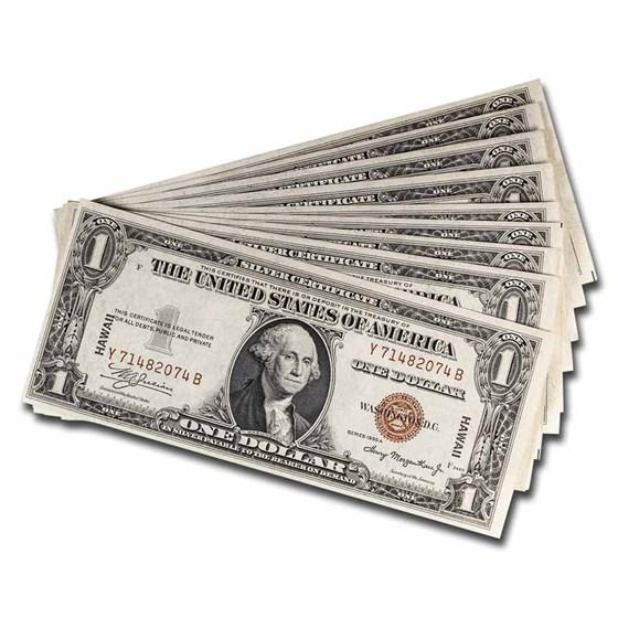 1935-A $1.00 Brown Seal Hawaii CU (Fr#2300) 10 Consecutive Notes