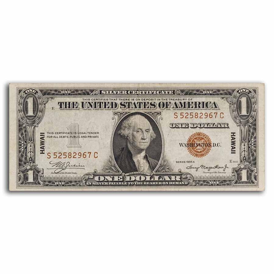 1935-A $1.00 Brown Seal Hawaii F/VF (Fr#2300)