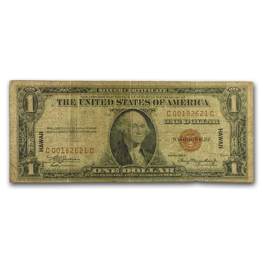 1935-A $1.00 Brown Seal Hawaii VG (Fr#2300)