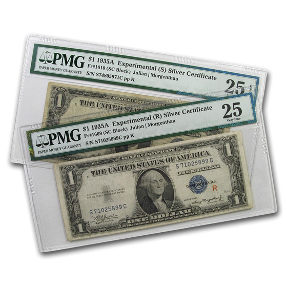 1935-A $1.00 Silver Cert. VF-25 PMG (R&S, Experimental 2-pc Set)