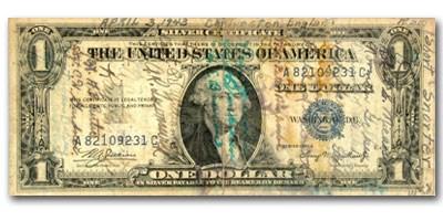 1935-A $1 Short Snorter VG/VF (Fr#1608) Multiple Signature