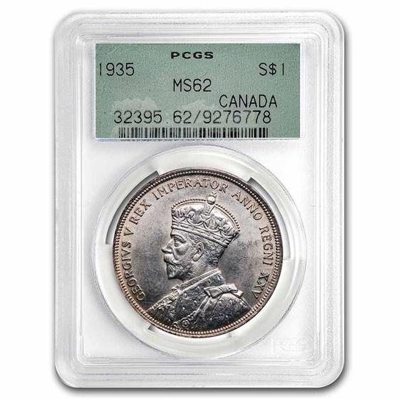 1935 Canada Silver Dollar George V MS-62 PCGS