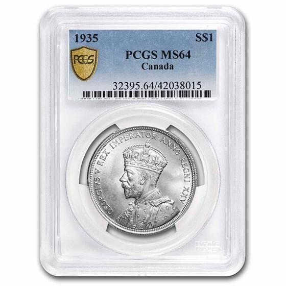 1935 Canada Silver Dollar George V MS-64 PCGS