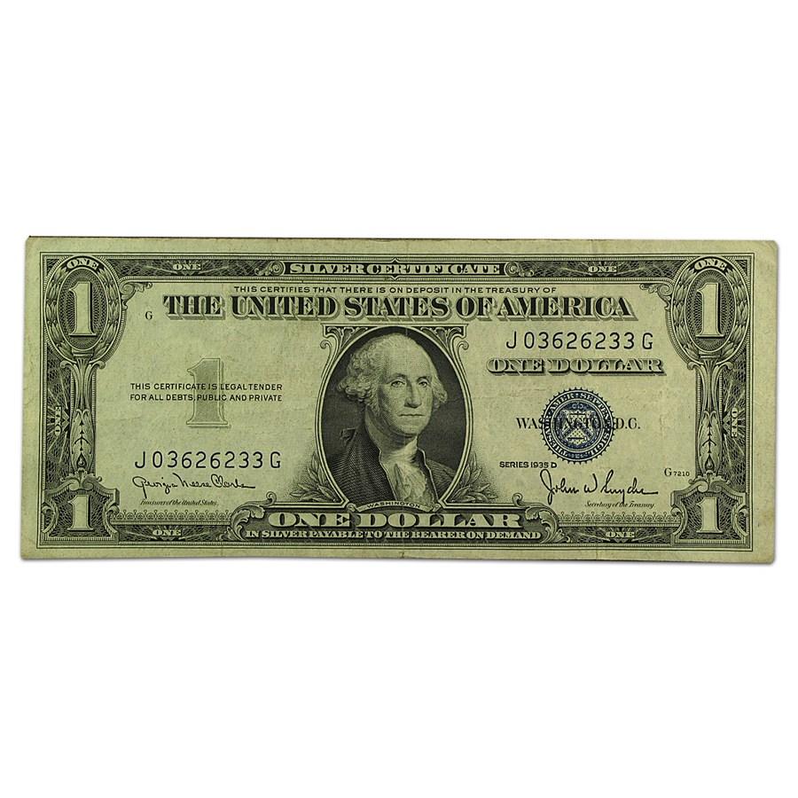 1935-D $1.00 Silver Certificate XF (Wide Seal)