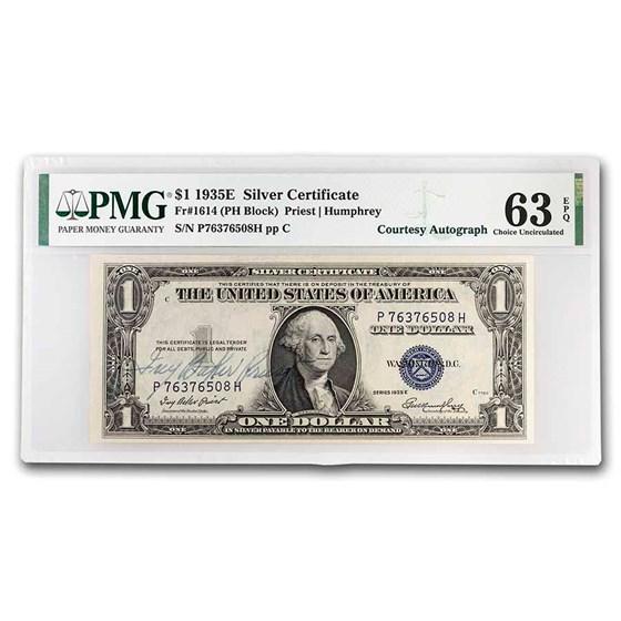 1935-E $1.00 Silver Cert CH CU-63 EPQ PMG (Fr#1614) (Autograph)