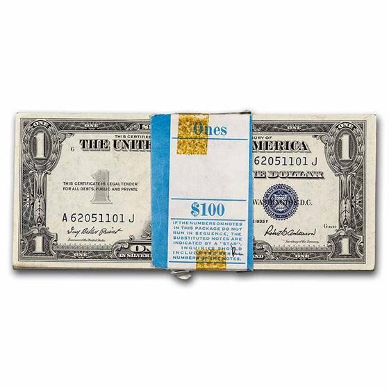 1935-F $1.00 Silver Cert CU (Fr#1615) 100 Consecutive