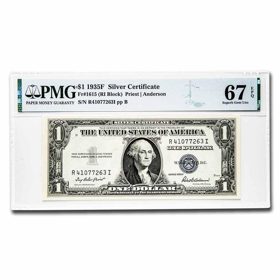 1935-F $1.00 Silver Certificate CU-67 EPQ PMG (Fr#1615)
