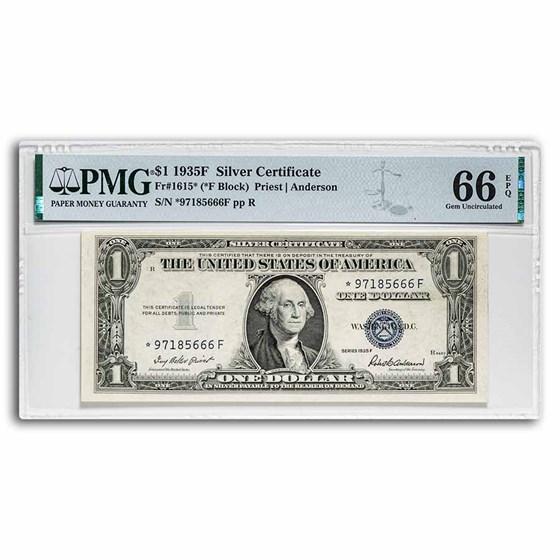 1935-F* $1 Silver Certificate CU-66 EPQ PMG (Fr#1615*) Star Note
