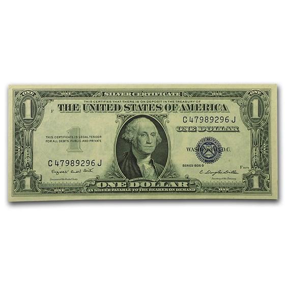 1935-G $1.00 Silver Certificate No Motto AU (Fr#1616)