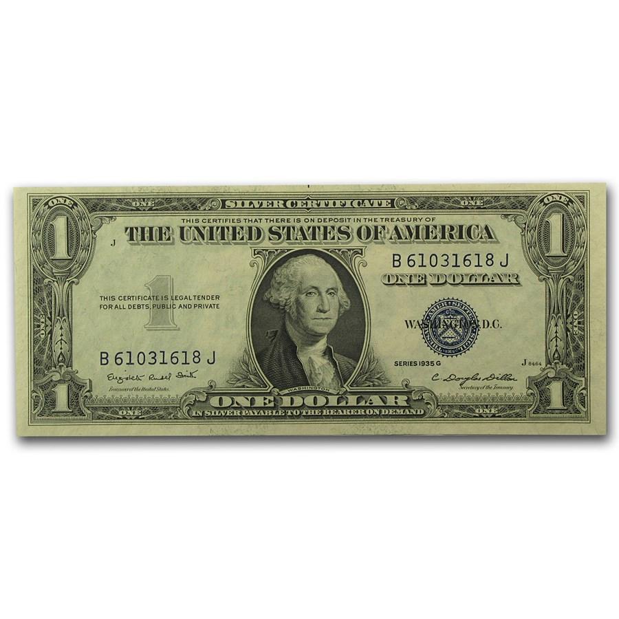 1935-G $1.00 Silver Certificate No Motto CCU (Fr#1616)