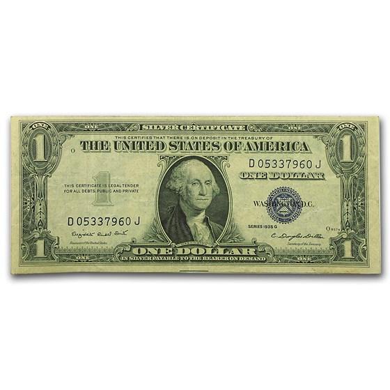 1935-G $1.00 Silver Certificate No Motto VF (Fr#1616)