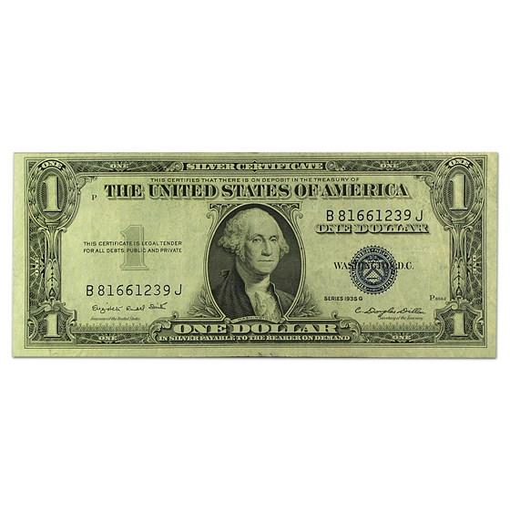 1935-G $1.00 Silver Certificate No Motto XF (B-J Block)