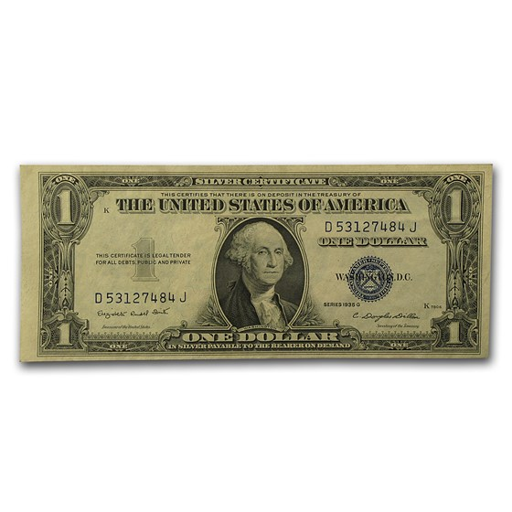 1935-G $1.00 Silver Certificate w/Motto AU (Fr#1617)