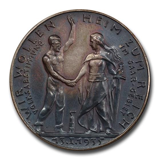 1935 Germany Weimar Republic Silver Medal Saar SP-63 PCGS