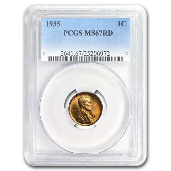 1935 Lincoln Cent MS-67 PCGS (Red)