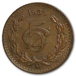 1935-Mo Mexico 5 Centavos Bronze BU Brown KM#422
