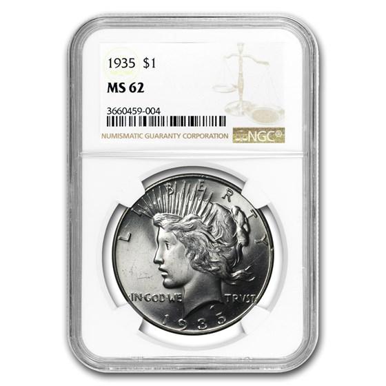 1935 Peace Dollar MS-62 NGC