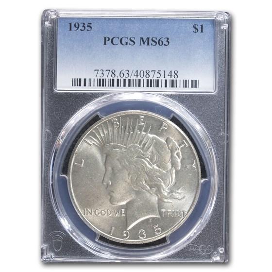 1935 Peace Dollar MS-63 PCGS